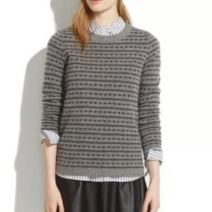 Madewell gray hearts crew neck wool sweater XS